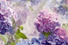 8-705 cikkszámú tapéta.Feliratos-számos,virágmintás,fehér,lila,zöld,gyengén mosható,papír poszter, fotótapéta