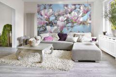 8-738 cikkszámú tapéta.Természeti mintás,virágmintás,fehér,kék,pink-rózsaszín,zöld,gyengén mosható,papír poszter, fotótapéta