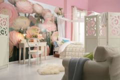 8-894 cikkszámú tapéta.Természeti mintás,virágmintás,fehér,pink-rózsaszín,zöld,gyengén mosható,papír poszter, fotótapéta