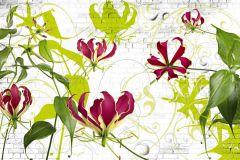 8-899 cikkszámú tapéta.Kőhatású-kőmintás,virágmintás,fehér,pink-rózsaszín,sárga,zöld,gyengén mosható,papír poszter, fotótapéta