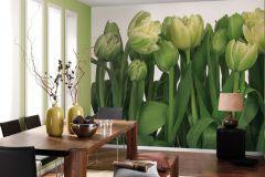 8-900 cikkszámú tapéta.Virágmintás,fehér,sárga,zöld,gyengén mosható,papír poszter, fotótapéta