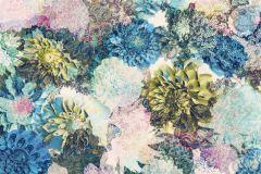 8-941 cikkszámú tapéta.Virágmintás,fehér,kék,sárga,türkiz,zöld,gyengén mosható,papír poszter, fotótapéta