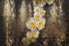 8-963 cikkszámú tapéta.Különleges motívumos,virágmintás,szürke,arany,fehér,gyengén mosható,papír poszter, fotótapéta