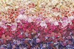 8-965 cikkszámú tapéta.Virágmintás,lila,narancs-terrakotta,pink-rózsaszín,piros-bordó,gyengén mosható,papír poszter, fotótapéta