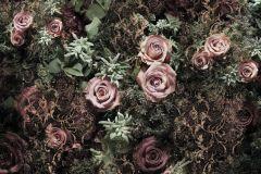 8-980 cikkszámú tapéta.Barokk-klasszikus,virágmintás,barna,fekete,lila,pink-rózsaszín,zöld,gyengén mosható,papír poszter, fotótapéta