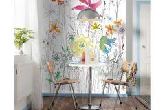 XXL2-022 cikkszámú tapéta.Rajzolt,virágmintás,fehér,kék,narancs-terrakotta,pink-rózsaszín,sárga,zöld,gyengén mosható,vlies poszter, fotótapéta