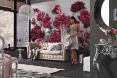 XXL4-002 cikkszámú tapéta.Virágmintás,pink-rózsaszín,sárga,szürke,zöld,gyengén mosható,vlies poszter, fotótapéta