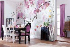 XXL4-032 cikkszámú tapéta.Természeti mintás,virágmintás,fehér,pink-rózsaszín,sárga,szürke,gyengén mosható,vlies poszter, fotótapéta