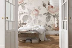 XXL4-034 cikkszámú tapéta.Virágmintás,fehér,pink-rózsaszín,szürke,gyengén mosható,vlies poszter, fotótapéta