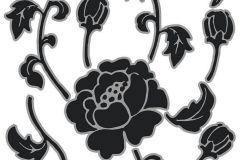 17001 cikkszámú tapéta.Gyerek,virágmintás,fekete,szürke,anyagában öntapadós falmatrica