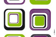 17016 cikkszámú tapéta.Absztrakt,gyerek,kockás,fekete,lila,szürke,zöld,anyagában öntapadós falmatrica