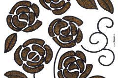 17018 cikkszámú tapéta.Virágmintás,barna,fekete,anyagában öntapadós falmatrica