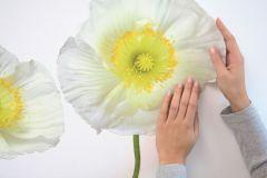 17022 cikkszámú tapéta.Természeti mintás,virágmintás,fehér,sárga,zöld,anyagában öntapadós falmatrica
