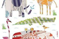 17026 cikkszámú tapéta.Gyerek,rajzolt,természeti mintás,barna,bézs-drapp,fehér,fekete,kék,lila,narancs-terrakotta,pink-rózsaszín,piros-bordó,sárga,szürke,türkiz,vajszínű,zöld,anyagában öntapadós falmatrica