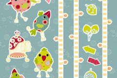 17045 cikkszámú tapéta.Gyerek,rajzolt,természeti mintás,kék,pink-rózsaszín,piros-bordó,sárga,zöld,anyagában öntapadós falmatrica