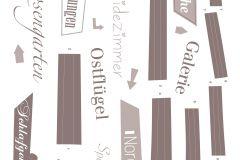 17717 cikkszámú tapéta.Feliratos-számos,barna,anyagában öntapadós falmatrica