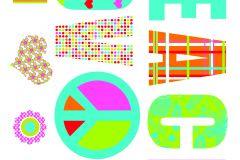17718 cikkszámú tapéta.Feliratos-számos,gyerek,rajzolt,kék,pink-rózsaszín,piros-bordó,sárga,türkiz,zöld,anyagában öntapadós falmatrica