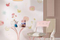 19008 cikkszámú tapéta.Gyerek,rajzolt,természeti mintás,bézs-drapp,kék,lila,pink-rózsaszín,sárga,zöld,anyagában öntapadós falmatrica