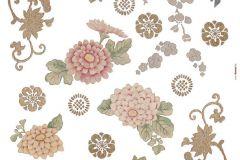 19009 cikkszámú tapéta.Természeti mintás,virágmintás,bézs-drapp,pink-rózsaszín,piros-bordó,zöld,anyagában öntapadós falmatrica