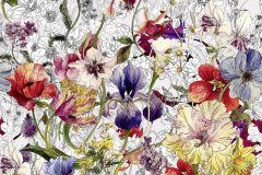 4-201 cikkszámú tapéta.Rajzolt,természeti mintás,virágmintás,fehér,lila,piros-bordó,sárga,papír poszter, fotótapéta