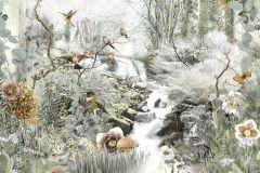 4-203 cikkszámú tapéta.állatok,tájkép,természeti mintás,virágmintás,barna,fehér,szürke,zöld,papír poszter, fotótapéta