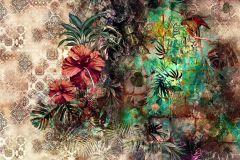 8-210 cikkszámú tapéta.Különleges motívumos,természeti mintás,virágmintás,barna,piros-bordó,zöld,papír poszter, fotótapéta