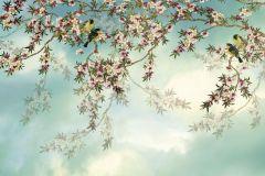 8-213 cikkszámú tapéta.állatok,rajzolt,tájkép,természeti mintás,virágmintás,fehér,kék,zöld,papír poszter, fotótapéta