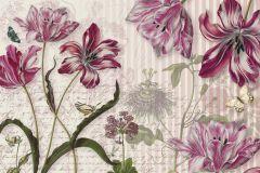 8-510 cikkszámú tapéta.Virágmintás,bézs-drapp,piros-bordó,szürke,papír poszter, fotótapéta