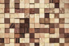 8-978 cikkszámú tapéta.3d hatású,fa hatású-fa mintás,fotórealisztikus,geometriai mintás,kockás,különleges motívumos,barna,bézs-drapp,papír poszter, fotótapéta