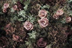 8-980 cikkszámú tapéta.3d hatású,fotórealisztikus,virágmintás,fekete,pink-rózsaszín,zöld,papír poszter, fotótapéta