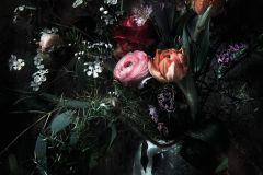 8-999 cikkszámú tapéta.3d hatású,fotórealisztikus,virágmintás,fekete,piros-bordó,zöld,papír poszter, fotótapéta
