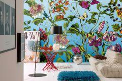 XXL4-029 cikkszámú tapéta.állatok,rajzolt,virágmintás,kék,lila,pink-rózsaszín,sárga,zöld,vlies poszter, fotótapéta