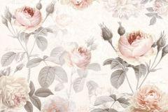XXL4-034 cikkszámú tapéta.Rajzolt,virágmintás,fehér,pink-rózsaszín,szürke,vlies poszter, fotótapéta