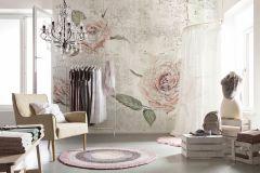 XXL4-049 cikkszámú tapéta.Kőhatású-kőmintás,rajzolt,természeti mintás,virágmintás,pink-rózsaszín,szürke,zöld,vlies poszter, fotótapéta