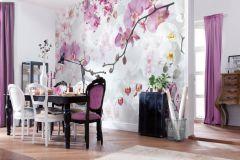 XXL4-032 cikkszámú tapéta.Fotórealisztikus,virágmintás,fehér,pink-rózsaszín,sárga,szürke,gyengén mosható,vlies poszter, fotótapéta