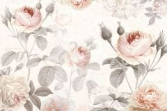 XXL4-034 cikkszámú tapéta.Virágmintás,fehér,narancs-terrakotta,pink-rózsaszín,szürke,gyengén mosható,vlies poszter, fotótapéta