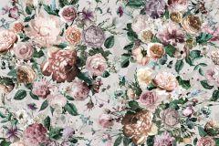 XXL4-051 cikkszámú tapéta.Virágmintás,fehér,narancs-terrakotta,pink-rózsaszín,szürke,zöld,gyengén mosható,vlies poszter, fotótapéta