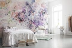 XXL4-060 cikkszámú tapéta.Absztrakt,virágmintás,fehér,lila,narancs-terrakotta,pink-rózsaszín,piros-bordó,gyengén mosható,vlies poszter, fotótapéta