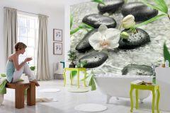 8-319 cikkszámú tapéta.Fotórealisztikus,tájkép,virágmintás,fehér,fekete,zöld,gyengén mosható,papír poszter, fotótapéta