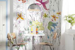 XXL2-022 cikkszámú tapéta.Gyerek,konyha-fürdőszobai,rajzolt,virágmintás,fehér,kék,narancs-terrakotta,sárga,zöld,gyengén mosható,vlies poszter, fotótapéta