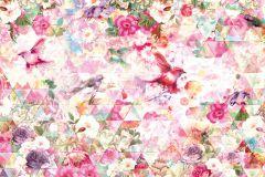 XXL4-019 cikkszámú tapéta.Absztrakt,geometriai mintás,gyerek,rajzolt,virágmintás,lila,narancs-terrakotta,pink-rózsaszín,zöld,gyengén mosható,vlies poszter, fotótapéta