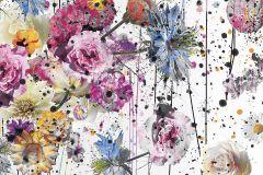 6003A-VD2 cikkszámú tapéta.Különleges felületű,különleges motívumos,pöttyös,virágmintás,fehér,fekete,kék,lila,narancs-terrakotta,pink-rózsaszín,piros-bordó,sárga,zöld,vlies poszter, fotótapéta