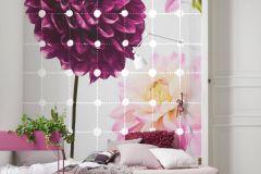 6006A-VD2 cikkszámú tapéta.Virágmintás,fehér,lila,narancs-terrakotta,pink-rózsaszín,szürke,zöld,vlies poszter, fotótapéta