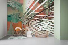 6011A-VD4 cikkszámú tapéta.3d hatású,absztrakt,ezüst,fekete,narancs-terrakotta,sárga,türkiz,zöld,vlies poszter, fotótapéta