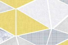 6014A-VD1 cikkszámú tapéta.Absztrakt,különleges felületű,rajzolt,retro,fehér,sárga,szürke,vlies poszter, fotótapéta