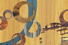 6015A-VD1 cikkszámú tapéta.Geometriai mintás,különleges felületű,rajzolt,retro,barna,kék,piros-bordó,sárga,vlies poszter, fotótapéta