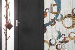 6015B-VD1 cikkszámú tapéta.Geometriai mintás,különleges felületű,rajzolt,retro,barna,fehér,kék,piros-bordó,sárga,szürke,vlies poszter, fotótapéta