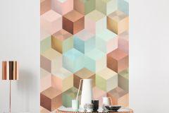 6016A-VD1 cikkszámú tapéta.3d hatású,geometriai mintás,különleges felületű,különleges motívumos,bronz,kék,pink-rózsaszín,türkiz,zöld,vlies poszter, fotótapéta