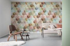 6016A-VD2 cikkszámú tapéta.3d hatású,geometriai mintás,különleges felületű,különleges motívumos,bronz,kék,pink-rózsaszín,szürke,türkiz,zöld,vlies poszter, fotótapéta