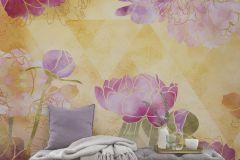 6029A-VD4 cikkszámú tapéta.Absztrakt,különleges motívumos,rajzolt,természeti mintás,virágmintás,lila,narancs-terrakotta,pink-rózsaszín,piros-bordó,sárga,zöld,vlies poszter, fotótapéta